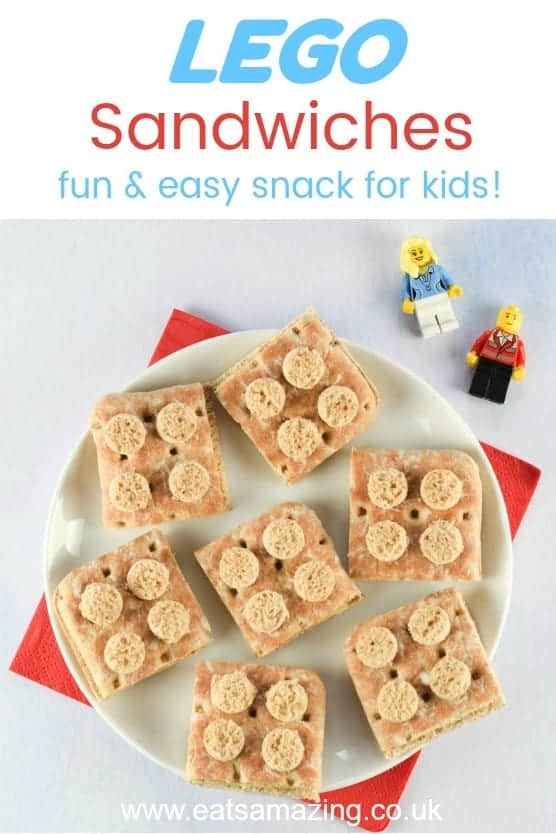 These fun and easy Lego sandwiches are perfect for LEGO themed healthy party food for kids and for popping into lunch boxes too #lego #partyfood #party #foodforkids #kidsfood #sandwich #foodart #edibleart #funfood #healthykids