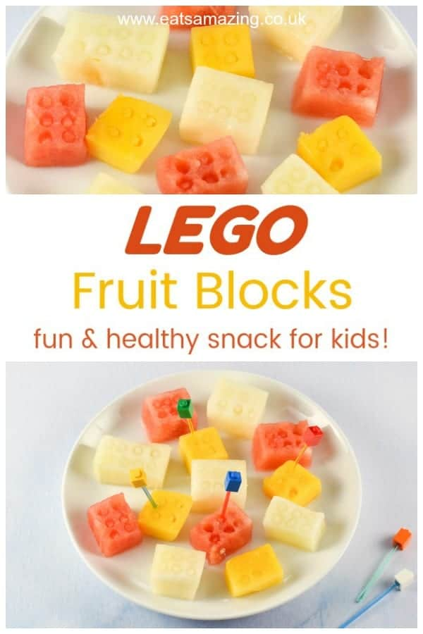 These fun and easy Lego themed fruit blocks are great for healthy kids party food healthy snacks or adding to fun bento lunch boxes #lego #partyfood #partyideas #kidsparty #kidsfood #funfood #foodart #edibleart #fruit #fruitsalad #healthykids #melon #mango #watermelon
