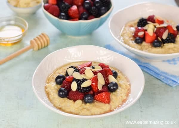 Easy porridge recipe for kids with summer berries topping - great family breakfast recipe that takes just 5 minutes to make