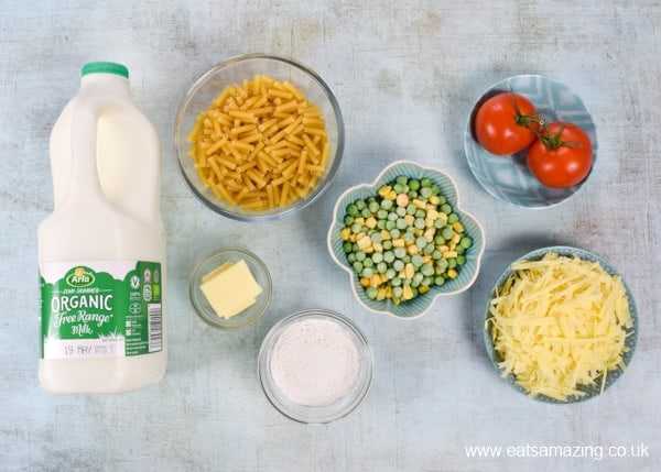 Macaroni cheese with peas and sweetcorn - ingredients