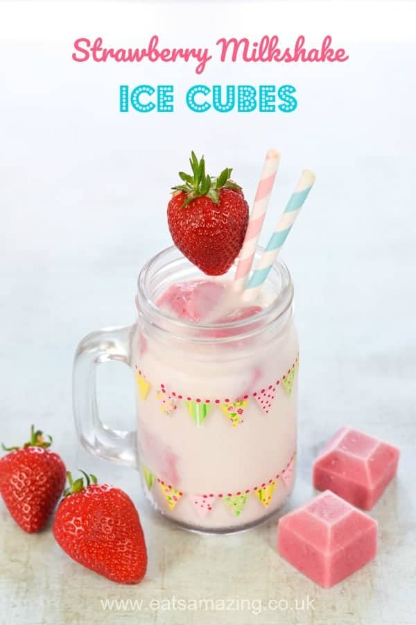 This easy homemade strawberry milkshake ice cubes recipe makes a great summer drink for kids parties or tea parties #milkshake #kidsfood #healthykids #summerfood #strawberries #strawberry #drinks #easyrecipe #homemade #kids #summerdrinks #teaparty