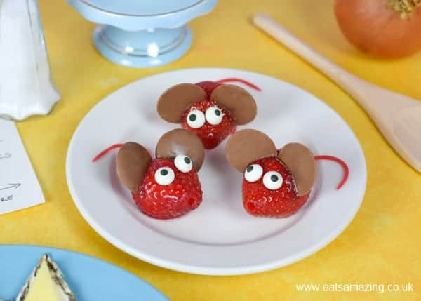 Billy and the Beast book themed fun food for kids - how to make cute strawberry mice