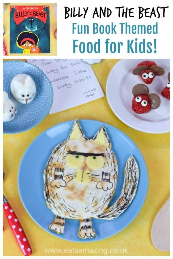 Book themed fun food tutorials for kids inspired by new picture book Billy and the Beast including egg bunnies strawberry mice and Fatcat pizza quesadillas #bookreview #books #funfood #kidsfood #cutefood #foodart #ediblecraft #tutorials #bookthemedfood #partyfood #preschoolers #healthykids #puffinpicturebooks