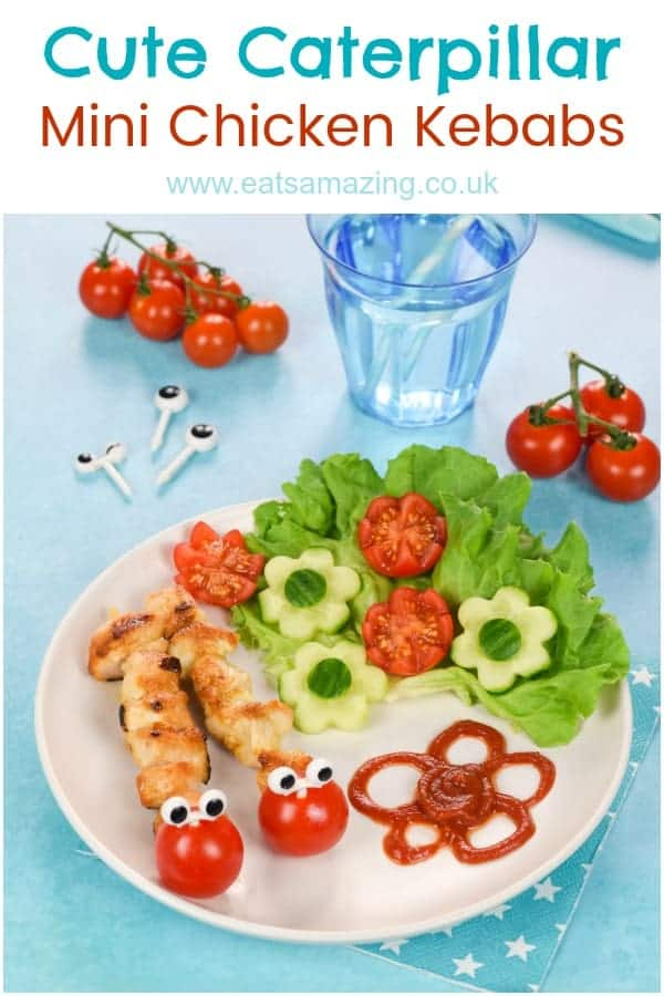 Cute and easy Caterpillar mini chicken kebabs recipe - fun food for kids that is perfect for garden themed party food or a fun family meal #summerfood #EatsAmazing #funfood #kidsfood #foodart #edibleart #kidsmeal #familyfood #kidapproved #cutefood #chickenrecipes #kebabs #partyfood