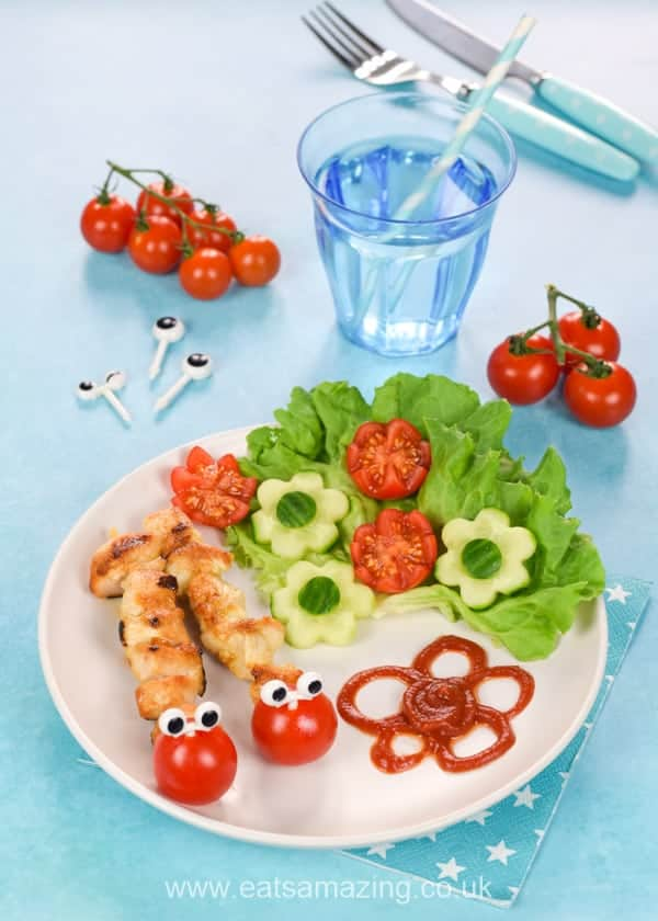 Cute and easy Caterpillar mini chicken kebabs recipe - healthy fun food for kids that is perfect for garden bug themed party food or a fun family meal