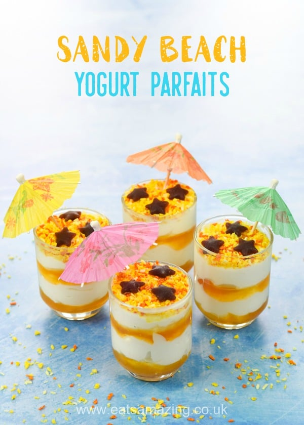 Cute beach themed yogurt parfaits recipe - a healthy fun food idea for kids that is perfect for summer party food and desserts