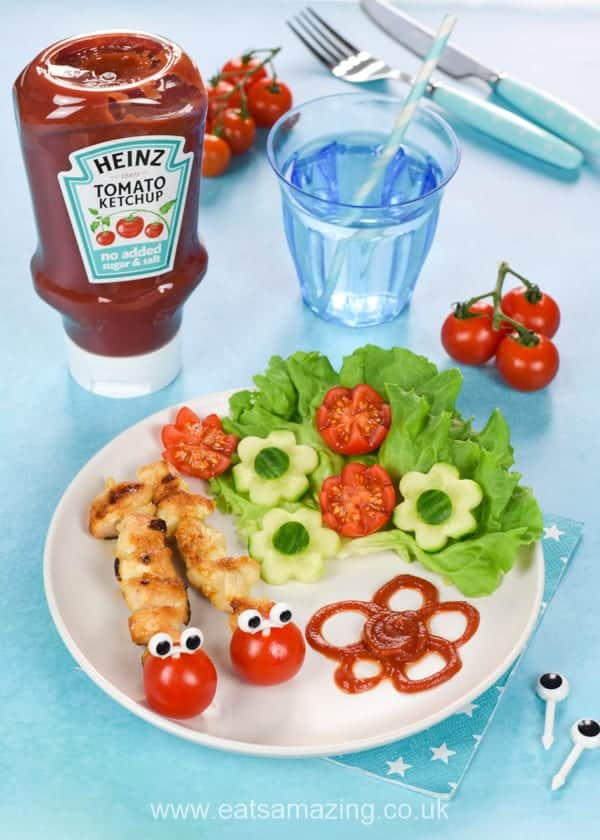 Easy Caterpillar mini chicken kebabs recipe with Heinz No Added Sugar and Salt Tomato Ketchup - this fun food for kids is perfect for a family meal