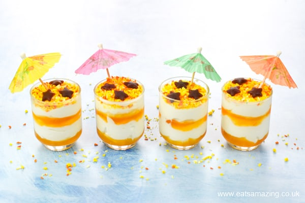 Easy beach themed yogurt parfaits for kids - fun summer recipe that is perfect for party food and desserts