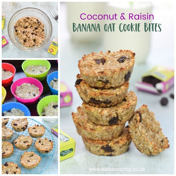 Easy coconut and raisin banana oat cookie bites - great for using up leftover banana - Eats Amazing UK