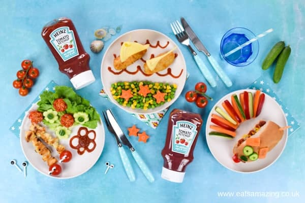 Fun Meals for Kids designed by Eats Amazing to celebrate the launch of NEW Heinz Tomato Ketchup No Added Sugar and Salt