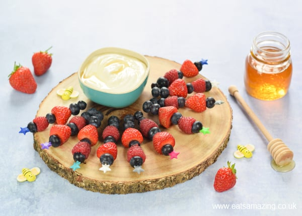 Fun and easy summer berry skewers with a delicious honey vanilla dip recipe - fun food idea for kids to make this summer