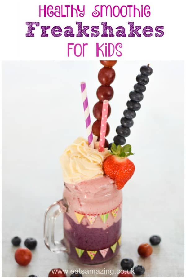 Fun and healthy smoothie freakshakes for kids - a fun healthier treat recipe you can easily make at home #smoothie #freakshake #summerfood #kidsfood #funfood #cookingwithkids #drink #summerdrink #fruits #treat #easyrecipe