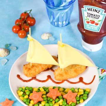 Fun fishy boats meal for kids with Heinz Tomato Ketchup No Added Sugar and Salt - perfect for fun and happy family meal times and party food too