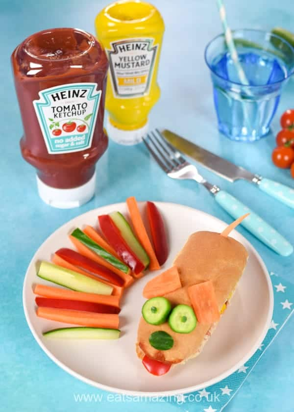 Fun food for kids - How to make a cute dog themed hot dog - perfect for kids party food and fun meals at home
