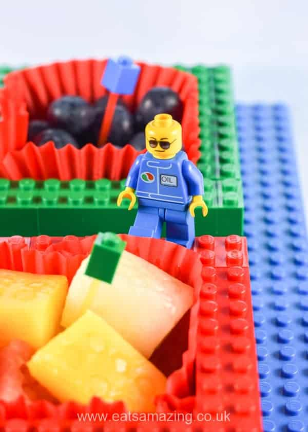Fun food for kids - How to make a fun snack plate from Lego - Add minifigures for extra fun