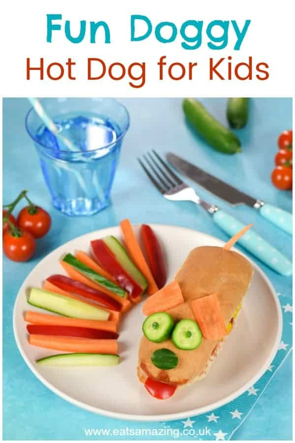 Fun food for kids - how to make a fun doggy hot dog - kids will love this cute and easy meal idea that's perfect for party food or a special occasion #EatsAmazing #funfood #kidsfood #foodart #edibleart #kidsmeal #familyfood #kidapproved #cutefood #hotdog