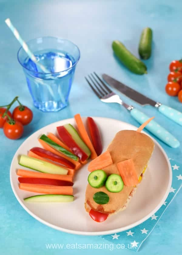 Fun food for kids wtih Heinz No Added Sugar and Salt Tomato Ketchup - how to make a fun doggy hot dog - kids will love this fun and easy meal idea