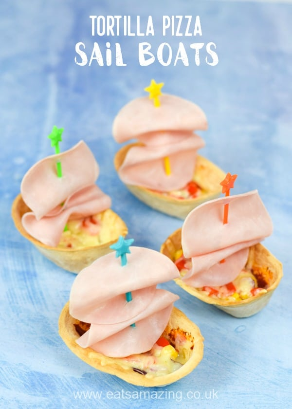 Fun tortilla pizza sail boats recipe for kids - make mealtimes fun with this easy recipe that is stuffed with hidden veggies