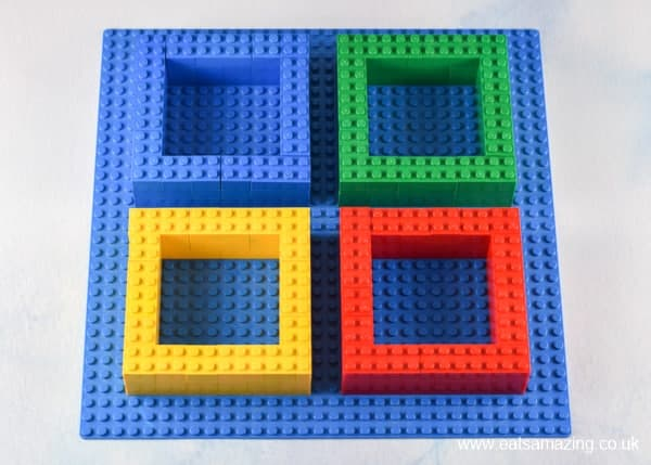 How to make a Lego snack plate - Step 2 assemble on a base plate