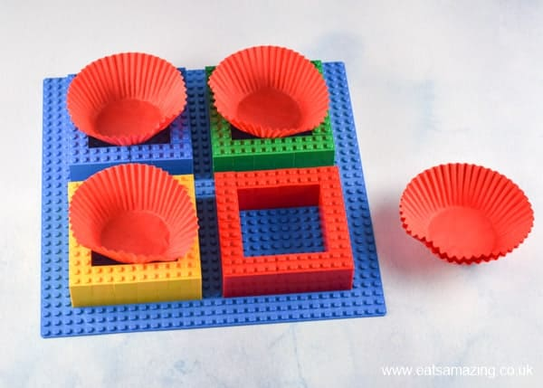 How to make a Lego snack plate - Step 3 add cupcake liners