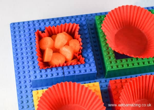 How to make a Lego snack plate - Step 4 place healthy snacks inside each section