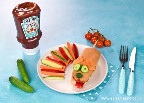 How to make a fun doggy hot dog for kids with Heinz Tomato Ketchup No Added Sugar and Salt