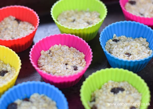 How to make banana oat cookie bites - step 3 press into silicone muffin cups