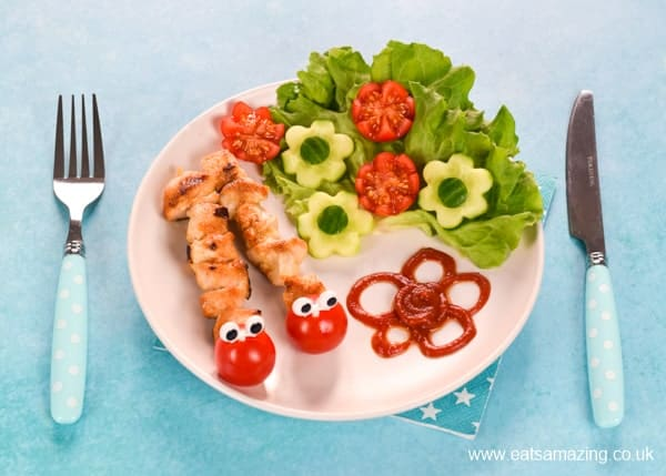 How to make cute caterpillar chicken kebabs - cute food art for kids that is perfect for a fun family meal or party food