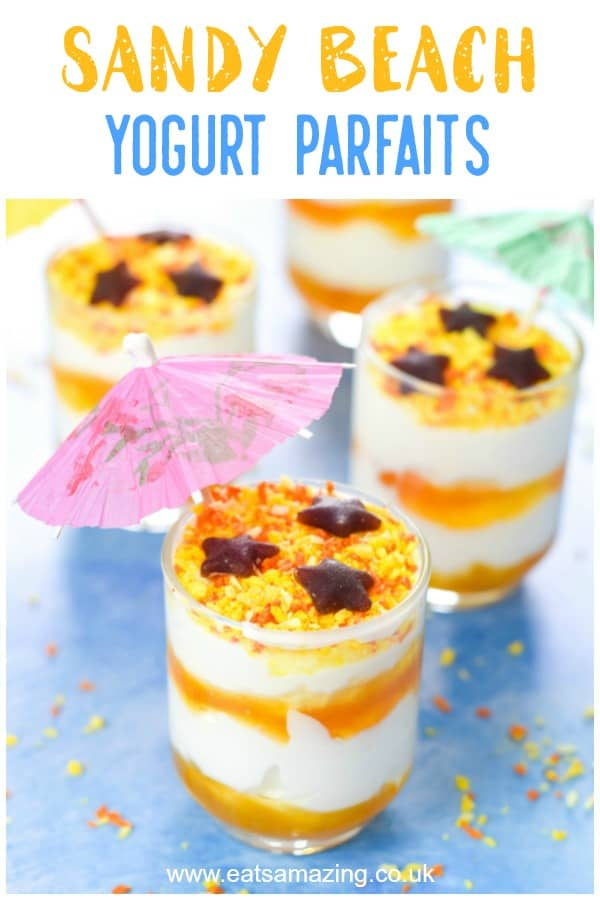 These cute and easy beach themed yogurt parfaits are a healthy fun food idea for kids - perfect for summer party food and desserts #summerfood #kidsfood #partyfood #funfood #partyideas #summerparty #yogurt #parfait #beachparty #beach #healthykids #funfood #summervibes