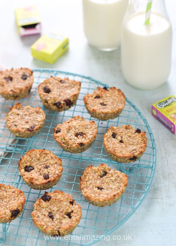 These quick and easy coconut and raisin banana oat cookie bites are vegan and free from flour eggs and sugar
