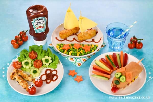 Three Fun Meal Ideas for Kids designed by Eats Amazing to celebrate the launch of NEW Heinz Tomato Ketchup No Added Sugar and Salt