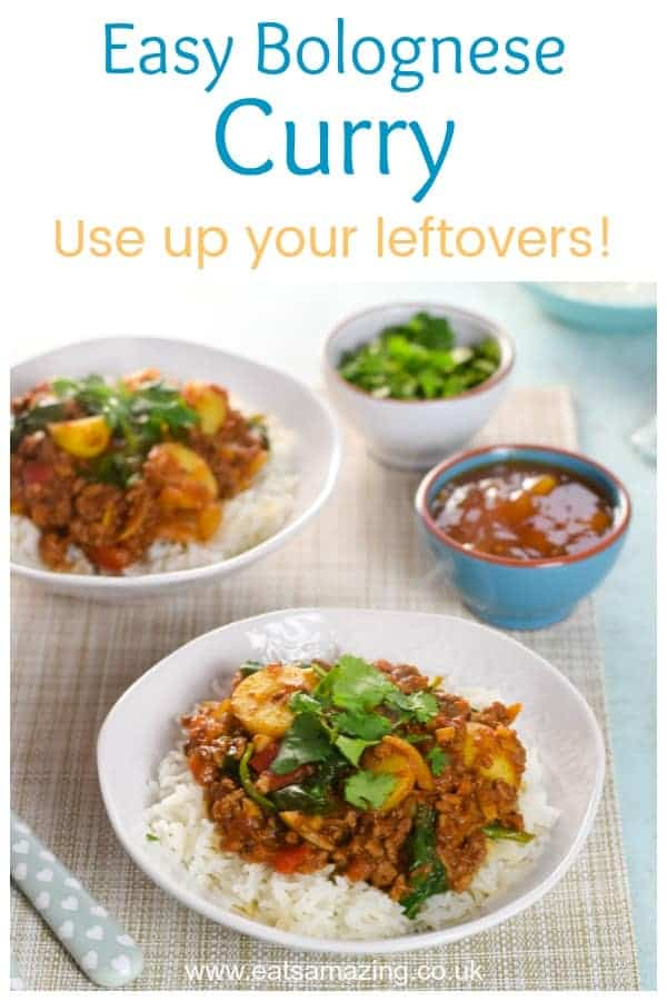 Use up leftover bolognese sauce to make this delicious easy curry - great budget recipe for family meal planning #leftovers #familyfood #curry #easyrecipe #mealplan #budgetfood #kidsfood #dinnerrecipes #dinner #familymeal #kidfriendly #kidapproved