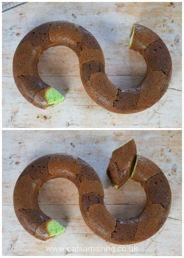 Birthday cake idea for kids - fun snake cake recipe - step 5 assemble cakes in snake shape