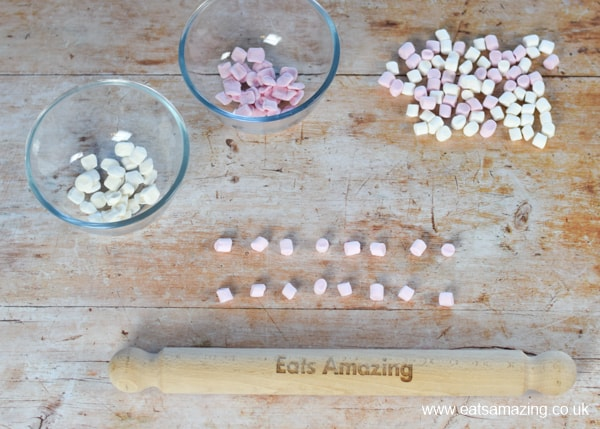 Birthday cake idea for kids - fun snake cake recipe - step 7 - roll mini marshmallows into scales