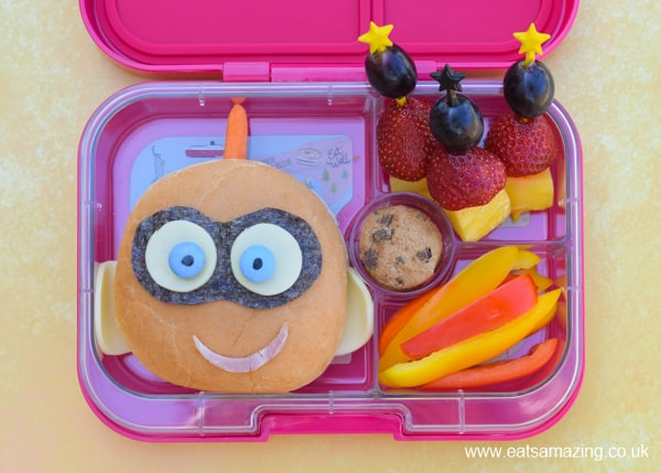 Cute and easy Jack-Jack Incredibles 2 bento box lunch for kids with video tutorial and full written instructions