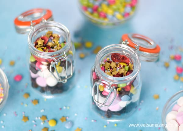 Cute and easy birthday sprinkle mix recipe for a fun birthday breakfast surprise for kids