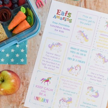 Dowload and print your FREE Unicorn themed lunchbox notes for kids - these fun notes make cute lunch time surprises easy - just print and cut