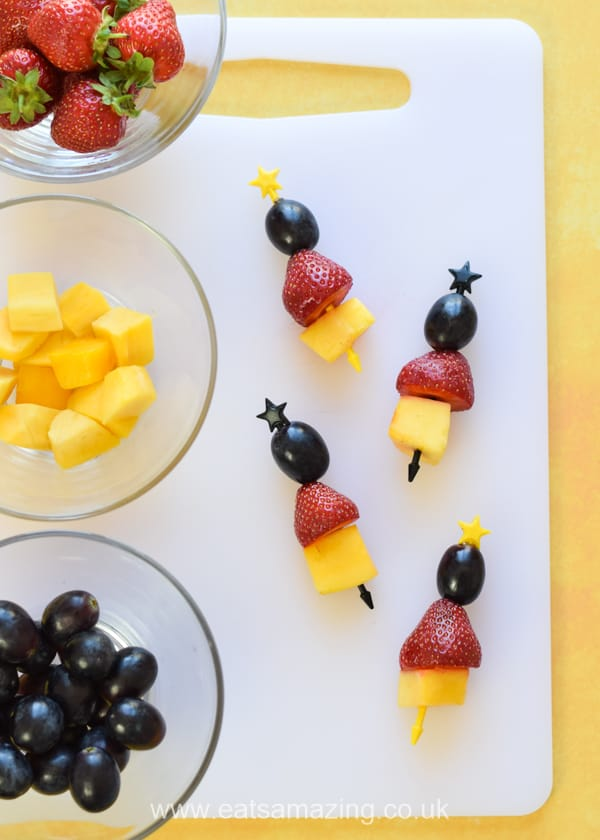 Easy Incredibles 2 themed fruit kebabs - perfect for superhero party food and healthy lunch boxes for kids