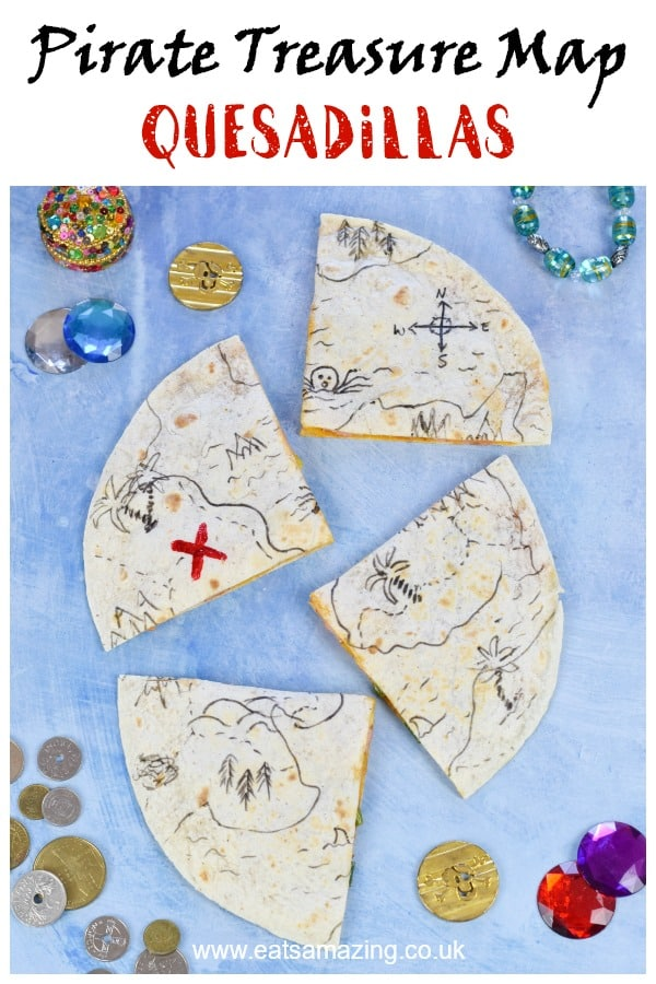 Easy edible pirate treasure map quesadillas recipe - fun pirate party food idea that is perfect for kids lunch boxes too #EatsAmazing #partyfood #funfood #kidsfood #kidsparty #pirates #partyideas #foodart #edibleart #ediblecraft #treasuremap #healthykids #bento