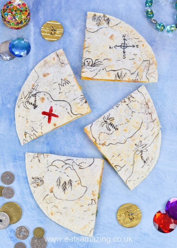 Easy edible pirate treasure maps - these fun pirate quesdillas are perfect for kids party food fun pirate themed meals or a cute lunch box surprise