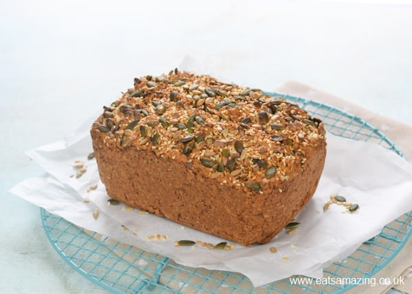 Easy yogurt and oat porridge bread recipe - this no-knead bread is naturally gluten free with no flour or yeast - perfect for a quick and healthy family breakfast