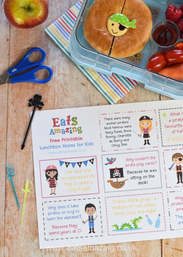 FREE Pirate themed lunchbox notes for kids with pirate jokes and fun pirate facts - pop them in a lunch box or lunch bag for a fun lunch time surprise