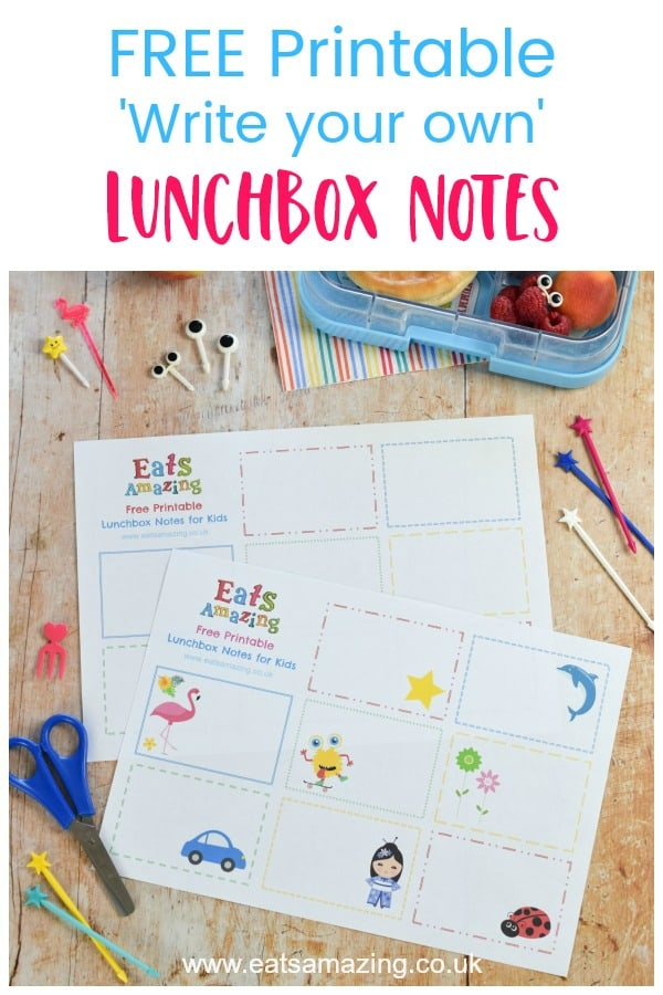 FREE printable blank lunchbox notes for kids - write your own messages or jokes and pop them in a lunch box or lunch bag for a fun school lunchtime surprise #lunchbox #schoollunch #backtoschool #lunchboxnotes #lunchnotes #kidsfood #funfood #bento #packedlunch #printable #freeprintable