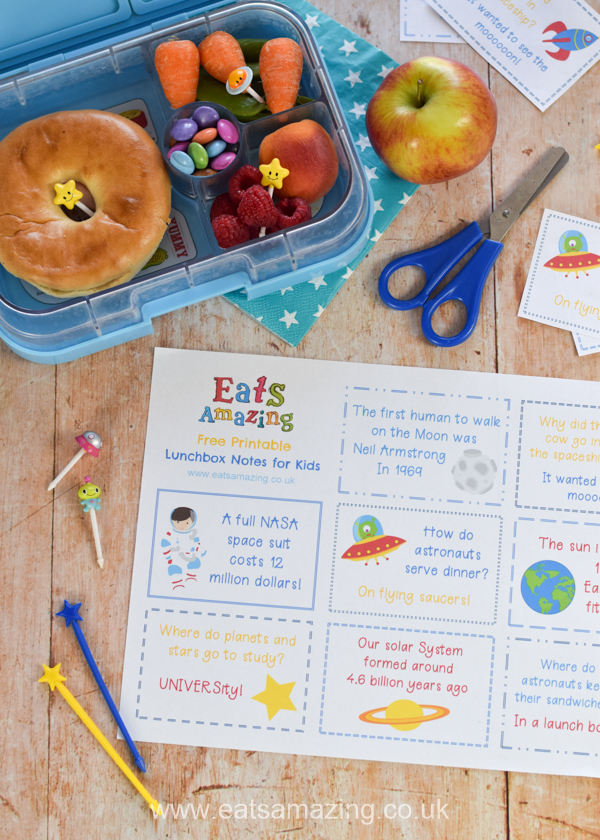 FREE printable lunchbox notes for kids - this fun set has a Space theme for budding astronauts - perfect for a fun packed lunch