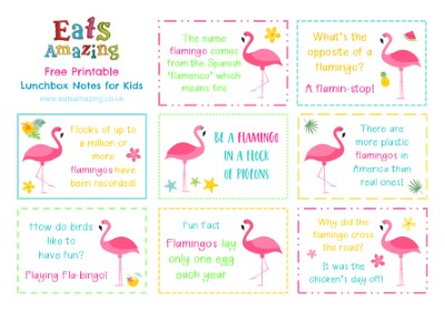 Flamingo FREE Printable Lunchbox Notes for kids - head over to the blog post to download and print your own set