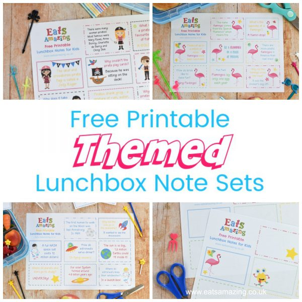 Free Printable Fun Themed Lunchbox Note Sets for Kids - with lots of different topics for adding cute lunch notes to lunch bags and lunch boxes