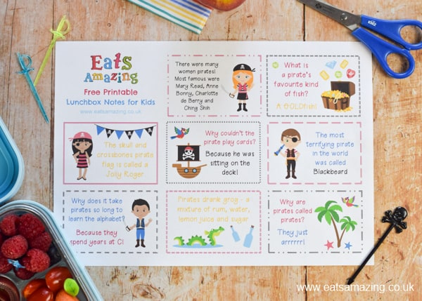 Free lunchbox notes for kids - download and print your free copy of these fun pirate themed lunch notes - perfect for back to school