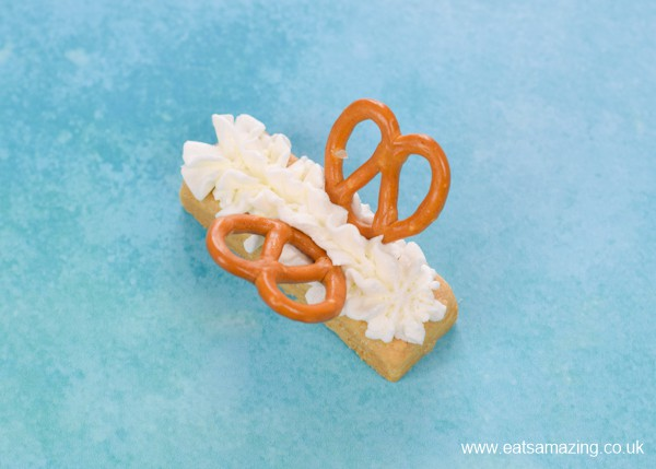 Fun Party treat idea - how to make shortbread butterfly biscuits step 3 - add pretzel wings