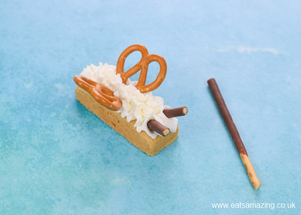 Fun Party treat idea - how to make shortbread butterfly biscuits step 4 - add antennae