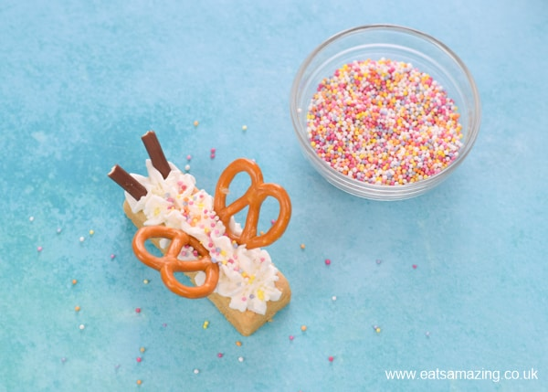Fun Party treat recipe for kids - how to make shortbread butterfly biscuits step 5 finish with sprinkles